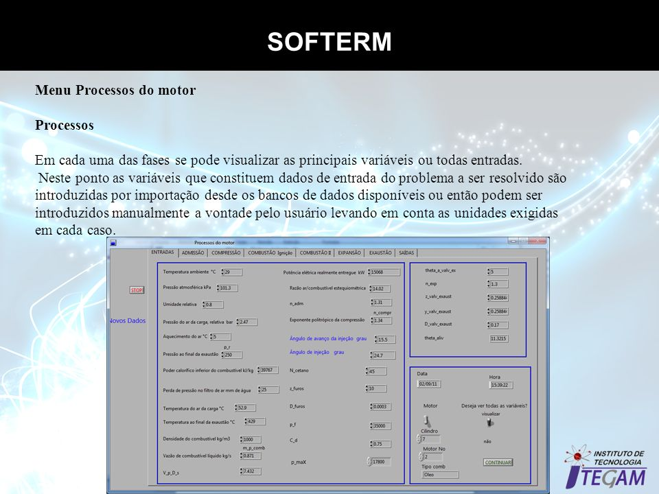 SOFTERM Menu Processos do motor Processos