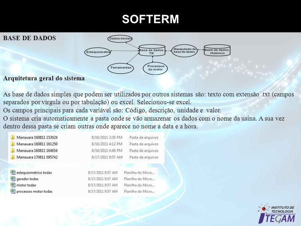 SOFTERM Base de dados Arquitetura geral do sistema