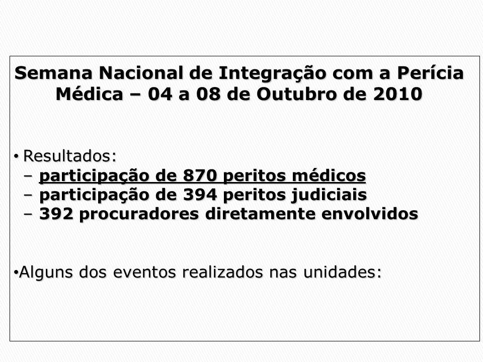 Semana Nacional de Integração com a Perícia Médica – 04 a 08 de Outubro de 2010