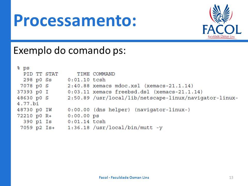 Sistemas Operacionais Exemplo do comando ps: