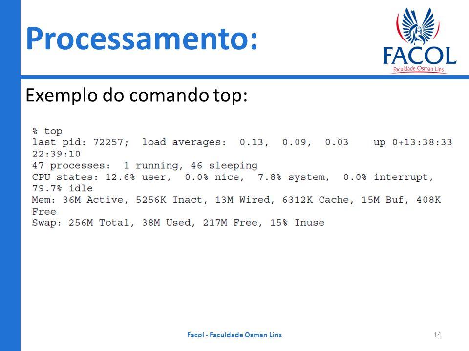 Sistemas Operacionais Exemplo do comando top: