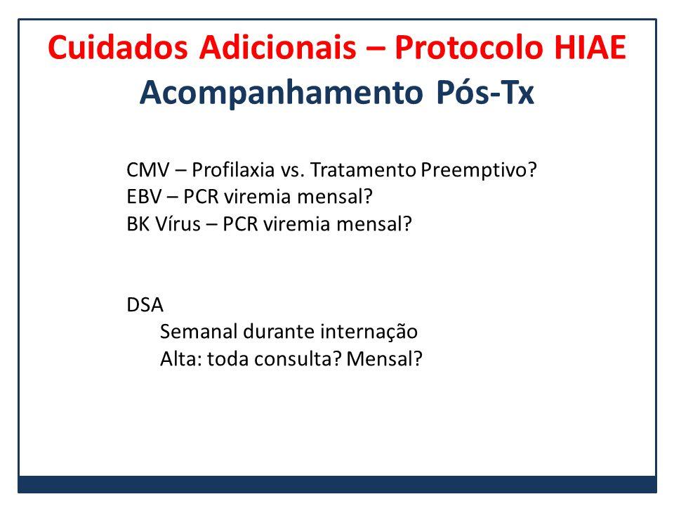 Cuidados Adicionais – Protocolo HIAE Acompanhamento Pós-Tx