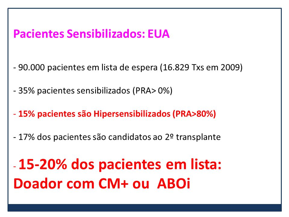 Doador com CM+ ou ABOi Pacientes Sensibilizados: EUA