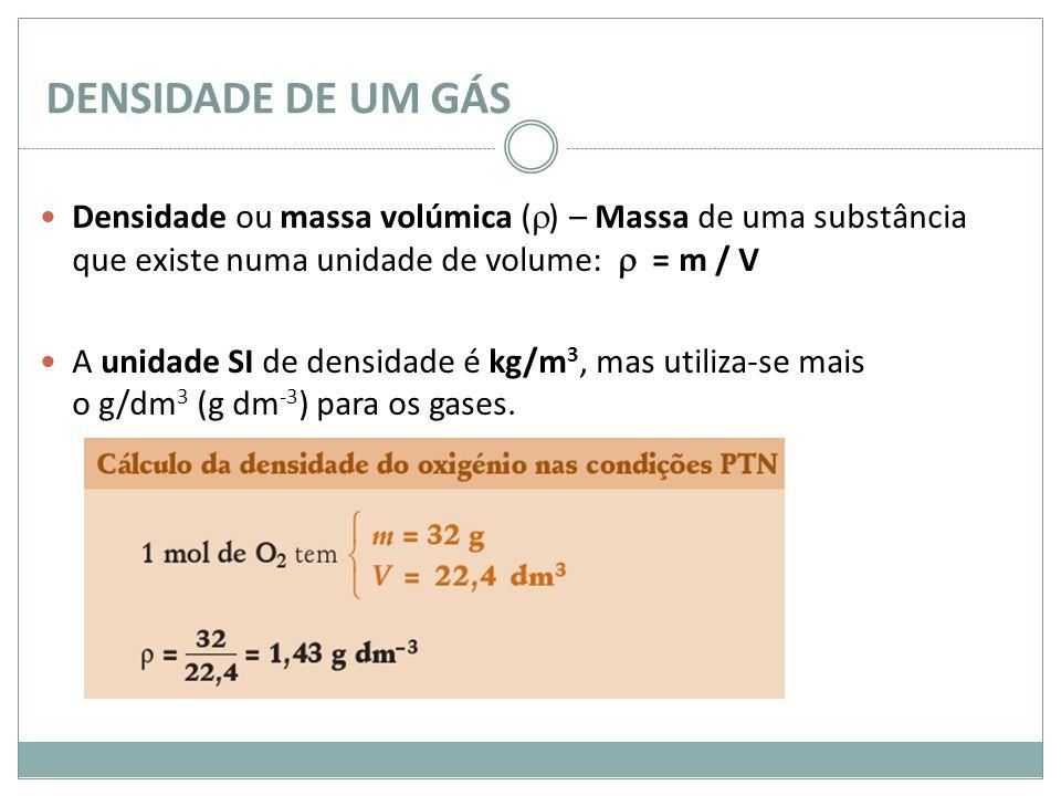 DENSIDADE DE UM GÁS Densidade ou massa volúmica () – Massa de uma substância que existe numa unidade de volume:  = m / V.