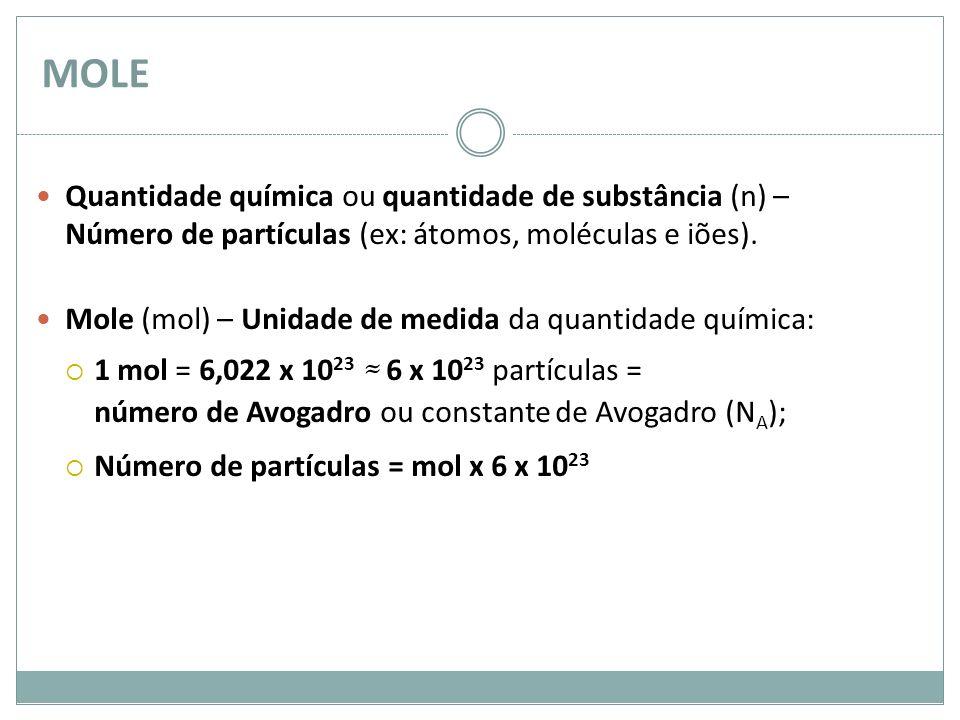 MOLE Quantidade química ou quantidade de substância (n) – Número de partículas (ex: átomos, moléculas e iões).