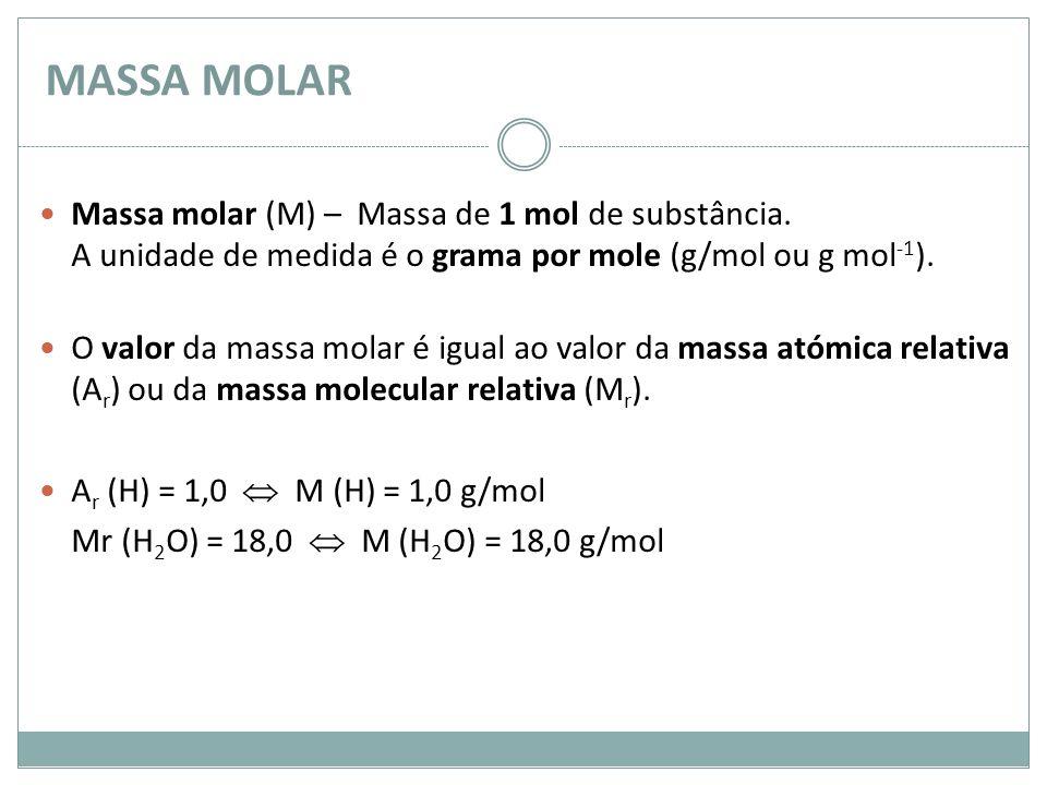 MASSA MOLAR Massa molar (M) – Massa de 1 mol de substância. A unidade de medida é o grama por mole (g/mol ou g mol-1).