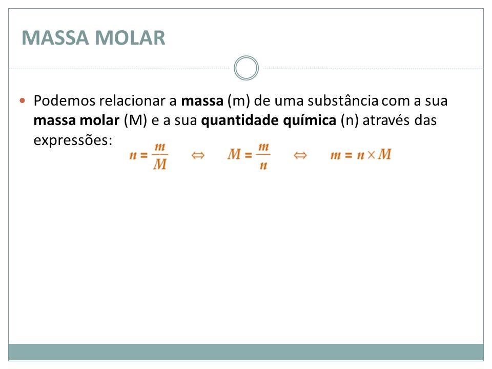 MASSA MOLAR Podemos relacionar a massa (m) de uma substância com a sua massa molar (M) e a sua quantidade química (n) através das expressões: