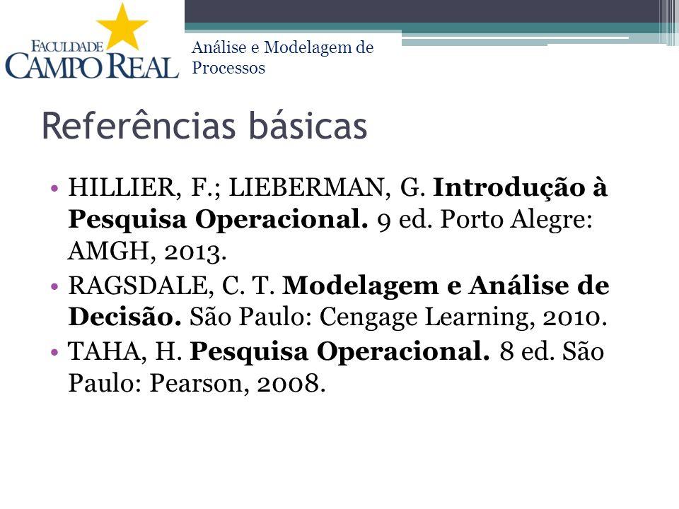 Referências básicas HILLIER, F.; LIEBERMAN, G. Introdução à Pesquisa Operacional. 9 ed. Porto Alegre: AMGH, 2013.