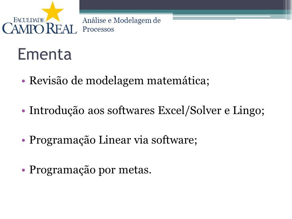 Ementa Revisão de modelagem matemática;