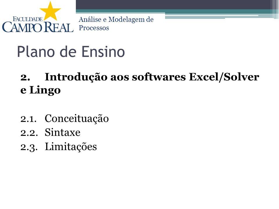 Plano de Ensino 2. Introdução aos softwares Excel/Solver e Lingo 2.1.