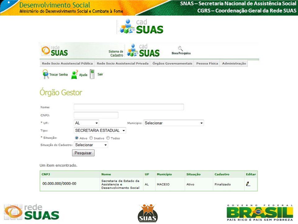 SNAS – Secretaria Nacional de Assistência Social