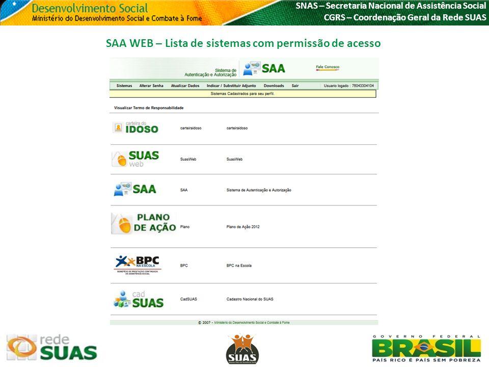 SAA WEB – Lista de sistemas com permissão de acesso