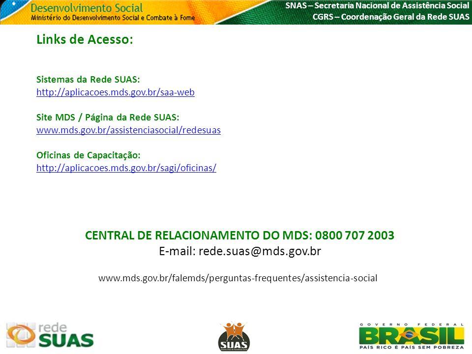 CENTRAL DE RELACIONAMENTO DO MDS: 0800 707 2003