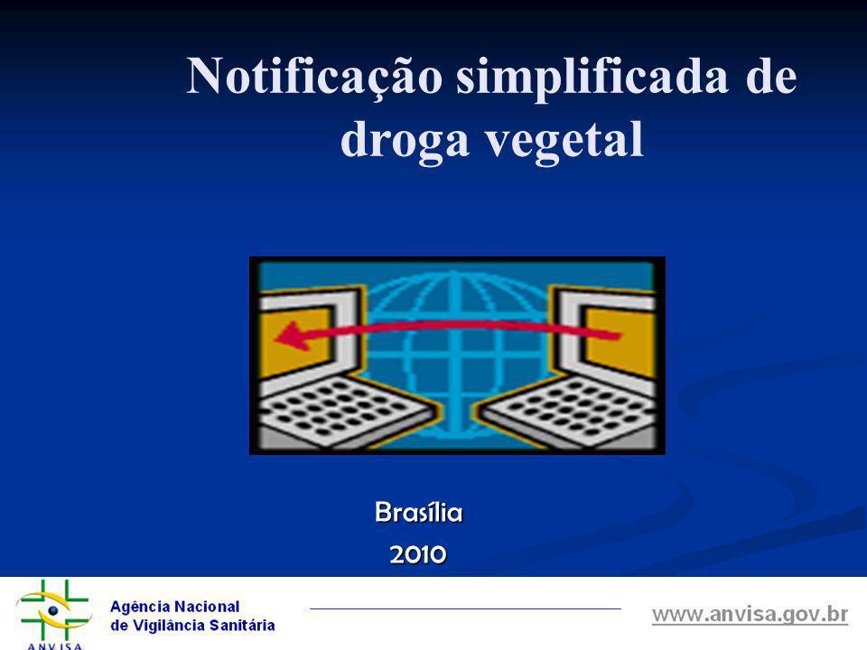 Notificação simplificada de droga vegetal