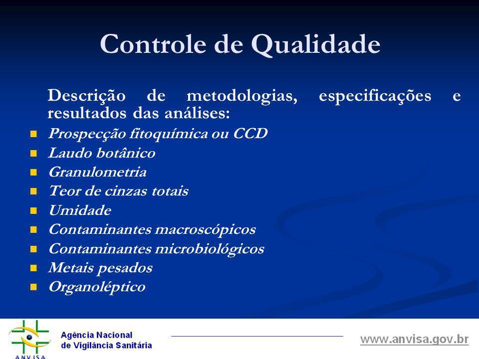Controle de Qualidade Descrição de metodologias, especificações e resultados das análises: Prospecção fitoquímica ou CCD.