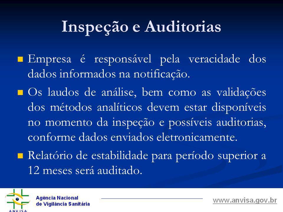 Inspeção e Auditorias Empresa é responsável pela veracidade dos dados informados na notificação.