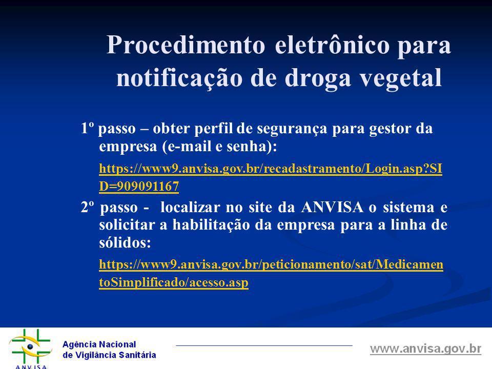 Procedimento eletrônico para notificação de droga vegetal