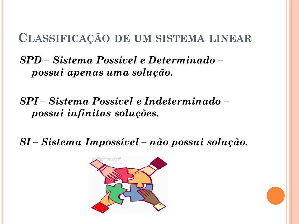 Classificação de um sistema linear