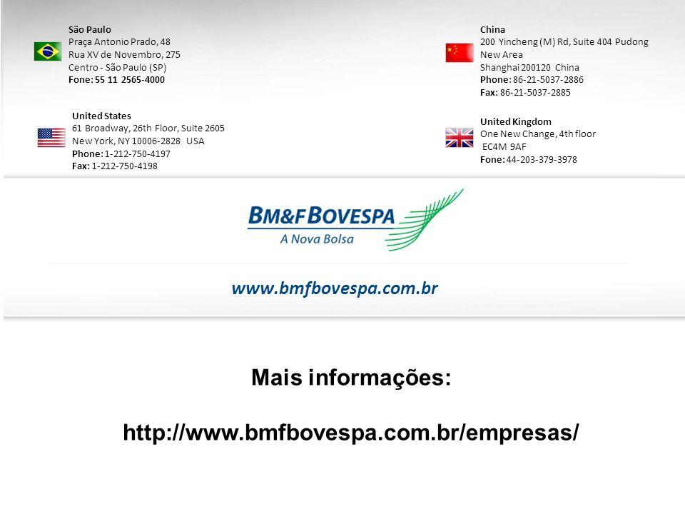 Mais informações: http://www.bmfbovespa.com.br/empresas/