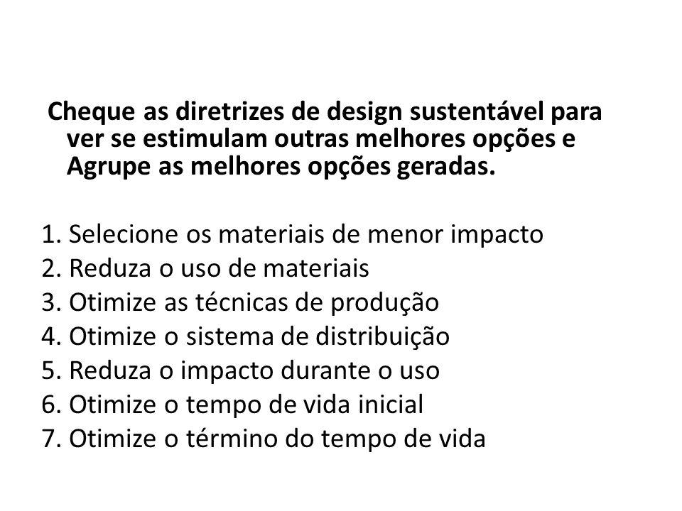 Cheque as diretrizes de design sustentável para ver se estimulam outras melhores opções e Agrupe as melhores opções geradas.