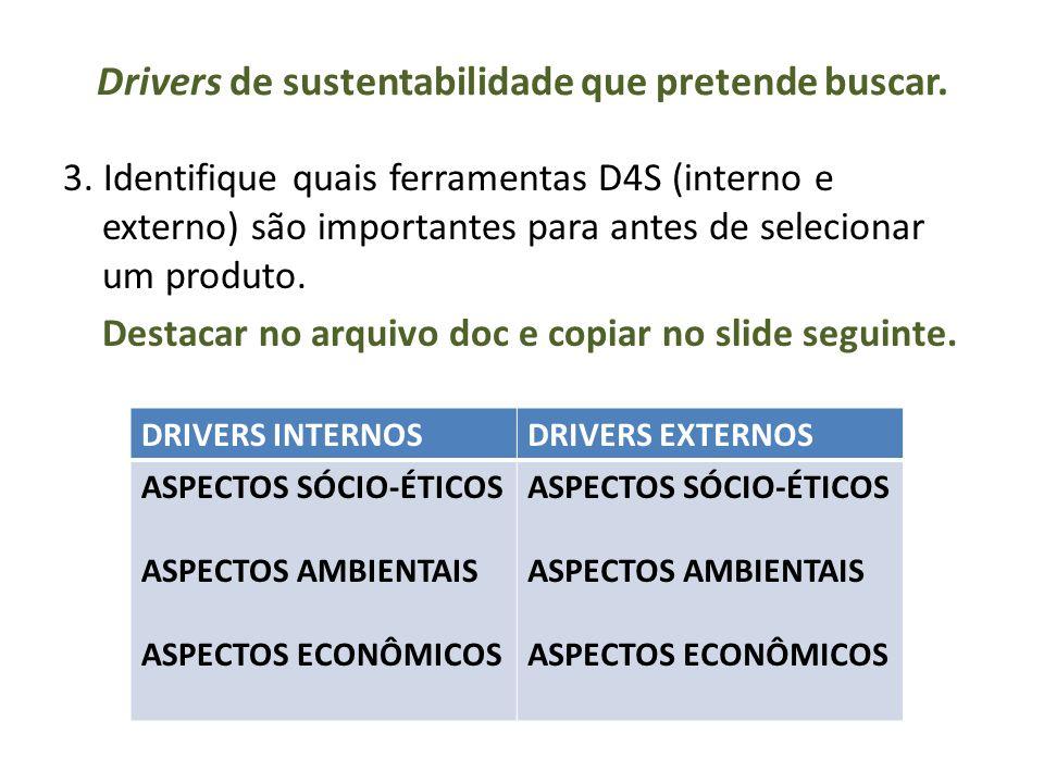 Drivers de sustentabilidade que pretende buscar.