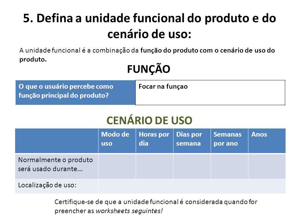 5. Defina a unidade funcional do produto e do cenário de uso: