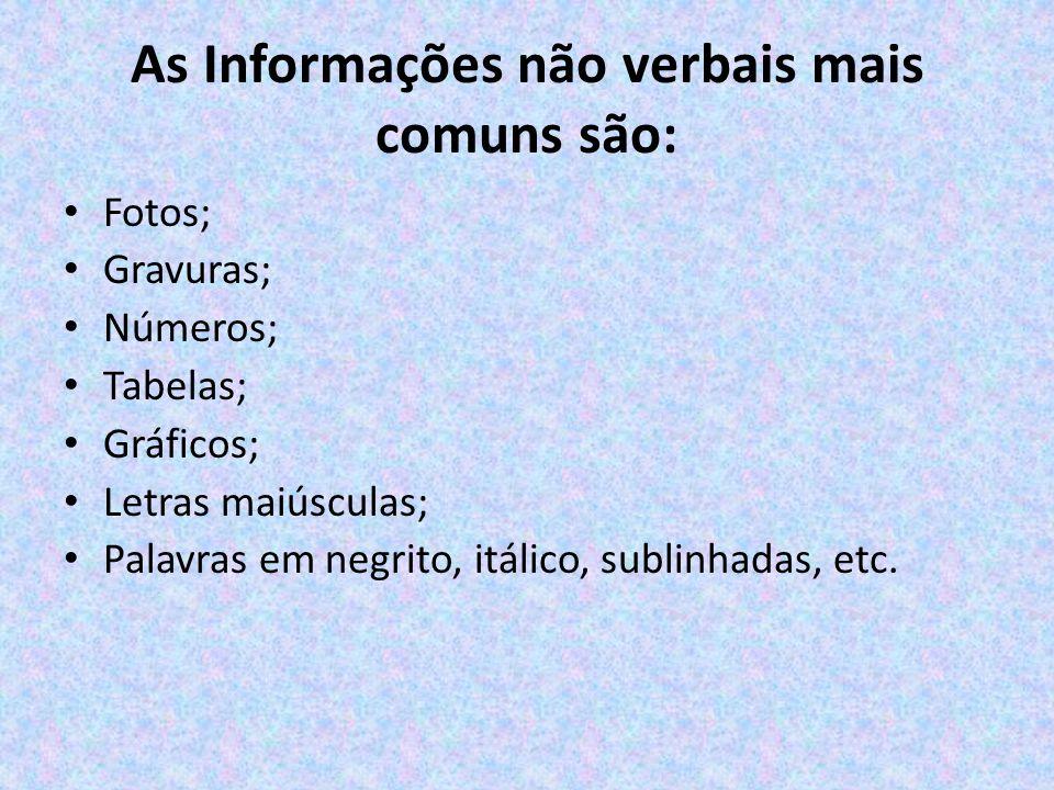 As Informações não verbais mais comuns são: