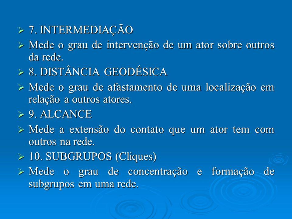 7. INTERMEDIAÇÃO Mede o grau de intervenção de um ator sobre outros da rede. 8. DISTÂNCIA GEODÉSICA.