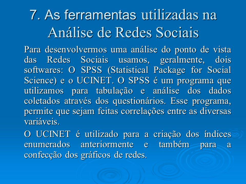 7. As ferramentas utilizadas na Análise de Redes Sociais