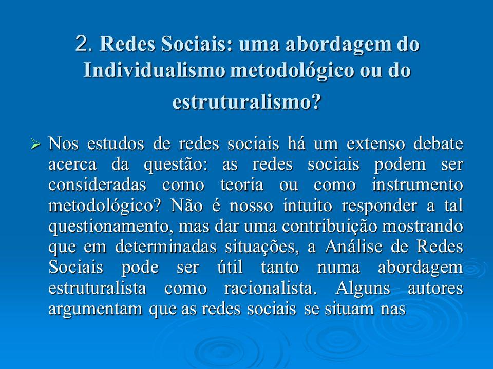2. Redes Sociais: uma abordagem do Individualismo metodológico ou do estruturalismo