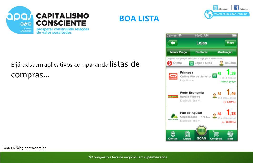 BOA LISTA E já existem aplicativos comparando listas de compras...