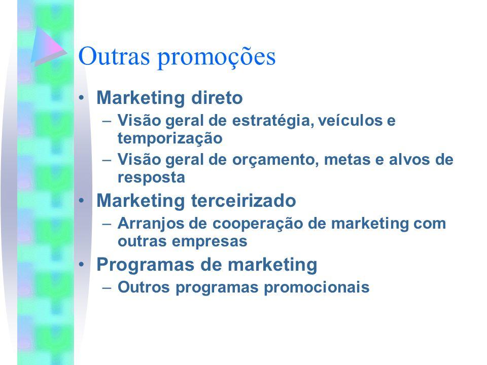 Outras promoções Marketing direto Marketing terceirizado