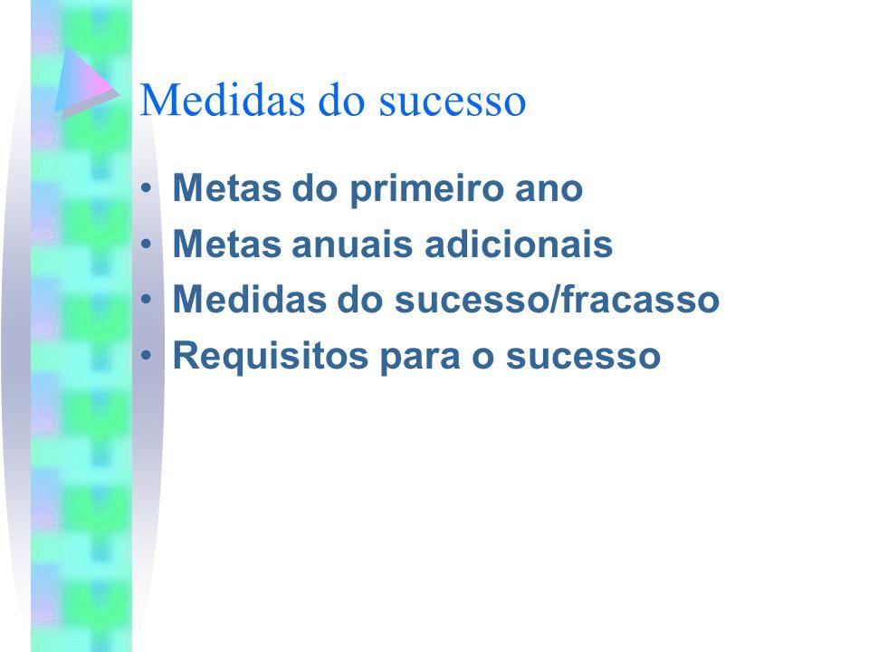 Medidas do sucesso Metas do primeiro ano Metas anuais adicionais