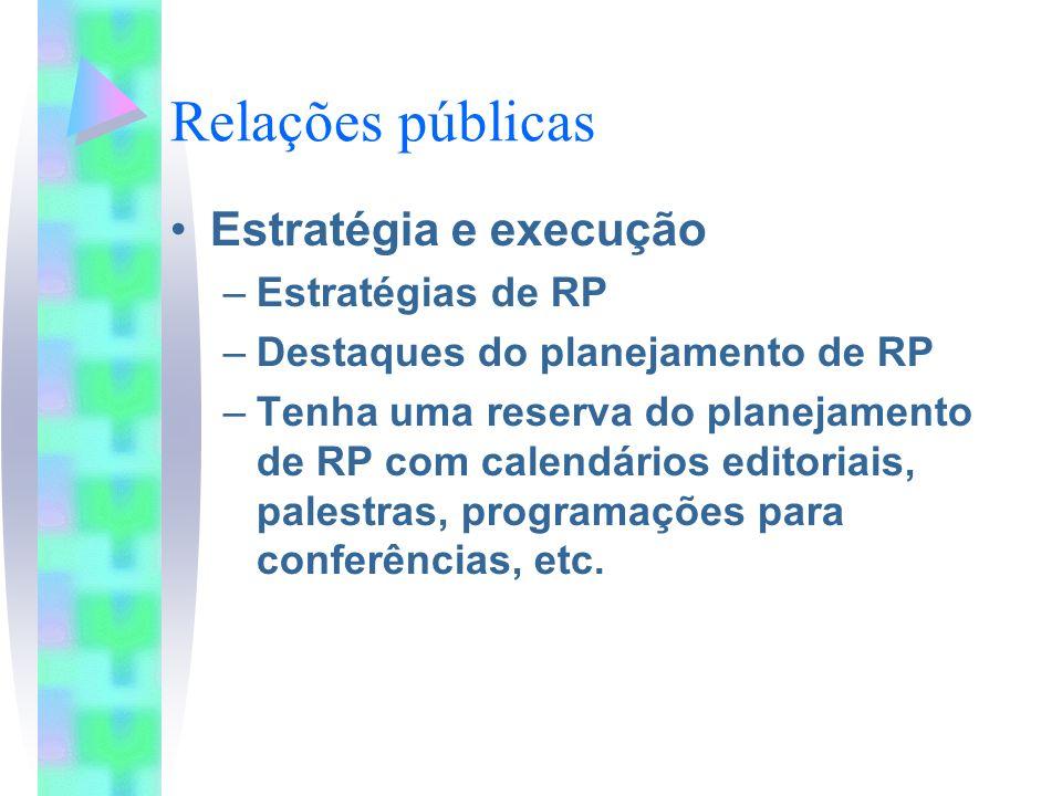 Relações públicas Estratégia e execução Estratégias de RP
