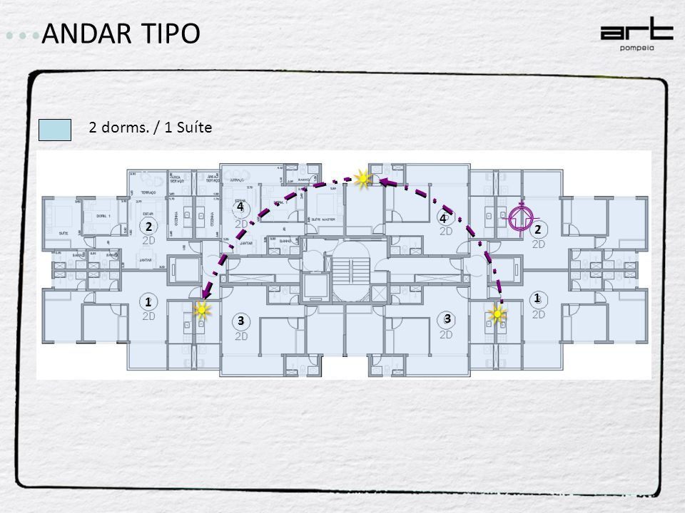 ANDAR TIPO 2 dorms. / 1 Suíte 4 4 2 2 1 1 3 3