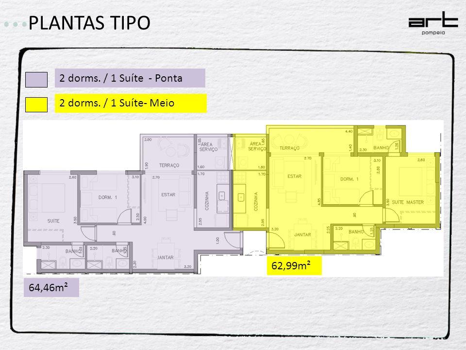 PLANTAS TIPO 2 dorms. / 1 Suíte - Ponta 2 dorms. / 1 Suíte- Meio