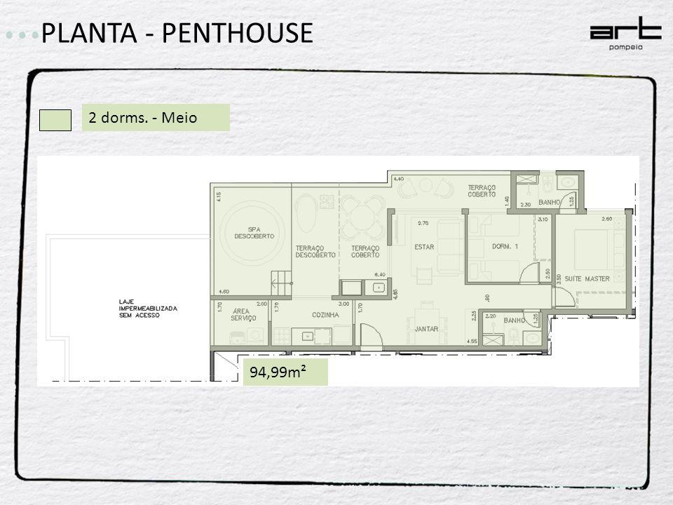 PLANTA - PENTHOUSE 2 dorms. - Meio 94,99m²