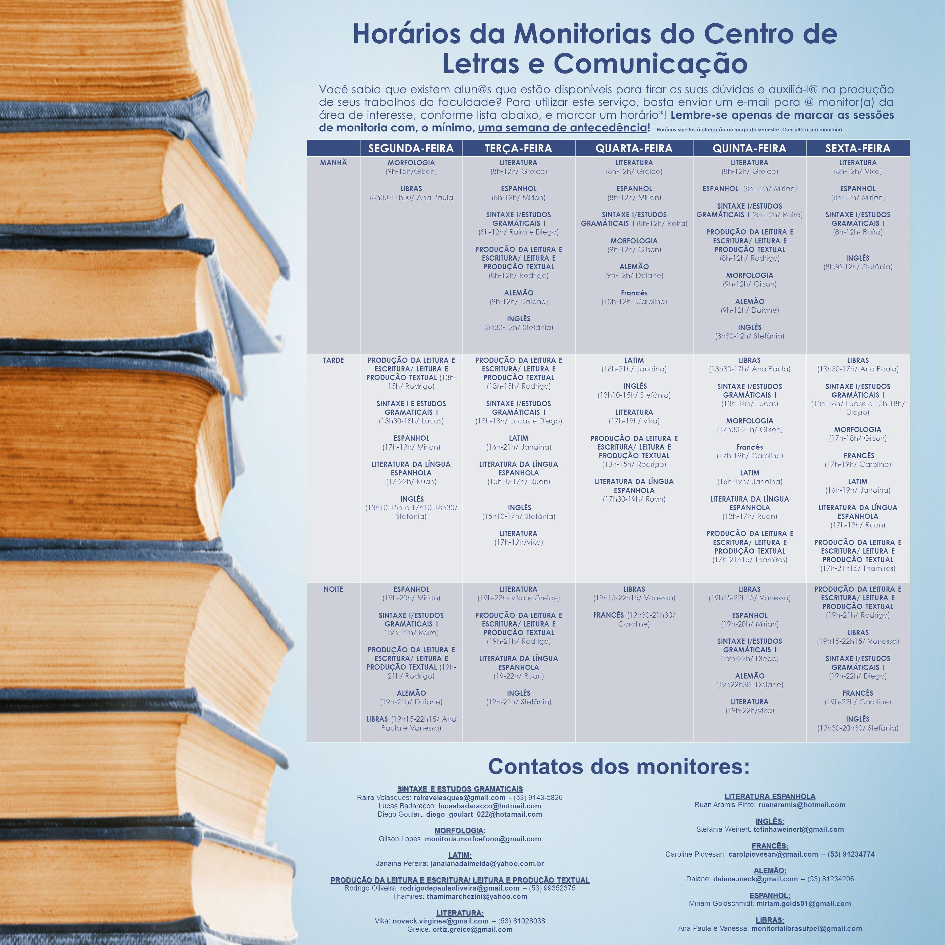 Horários da Monitorias do Centro de Letras e Comunicação