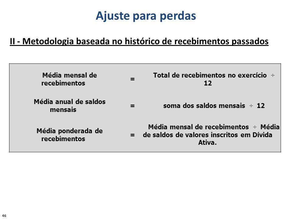 Ajuste para perdas II - Metodologia baseada no histórico de recebimentos passados. Média mensal de recebimentos.