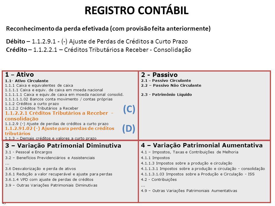 REGISTRO CONTÁBIL (C) (D)