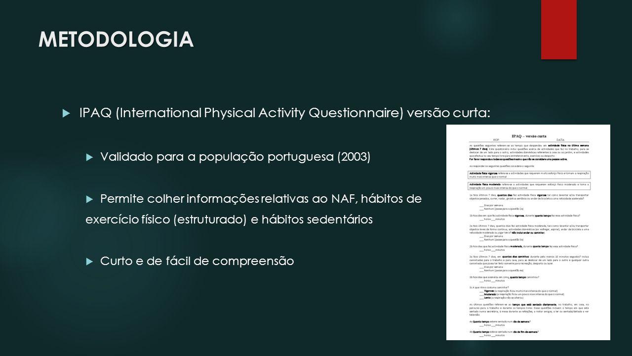 METODOLOGIA IPAQ (International Physical Activity Questionnaire) versão curta: Validado para a população portuguesa (2003)