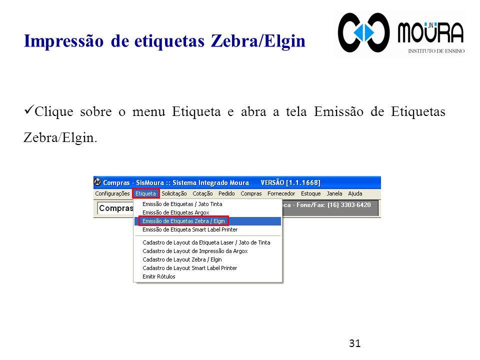 Impressão de etiquetas Zebra/Elgin