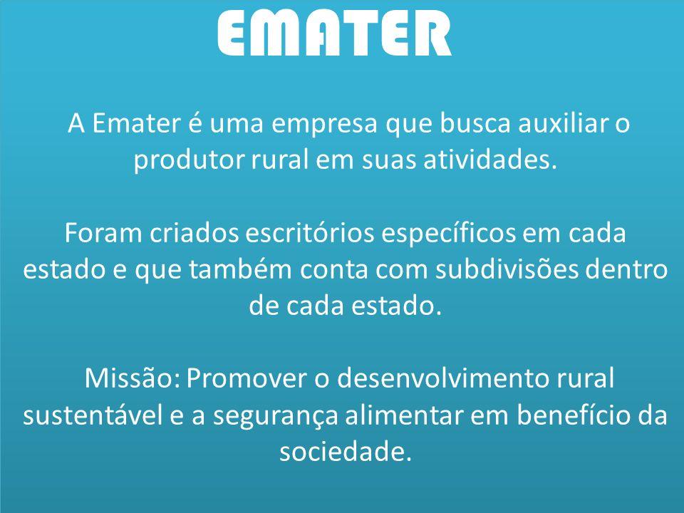EMATER A Emater é uma empresa que busca auxiliar o produtor rural em suas atividades.