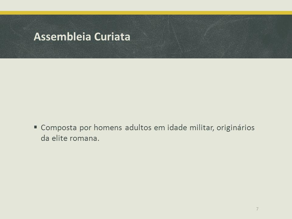 Assembleia Curiata Composta por homens adultos em idade militar, originários da elite romana.