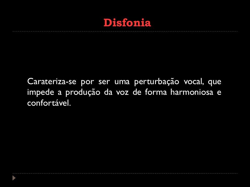 Disfonia Carateriza-se por ser uma perturbação vocal, que impede a produção da voz de forma harmoniosa e confortável.