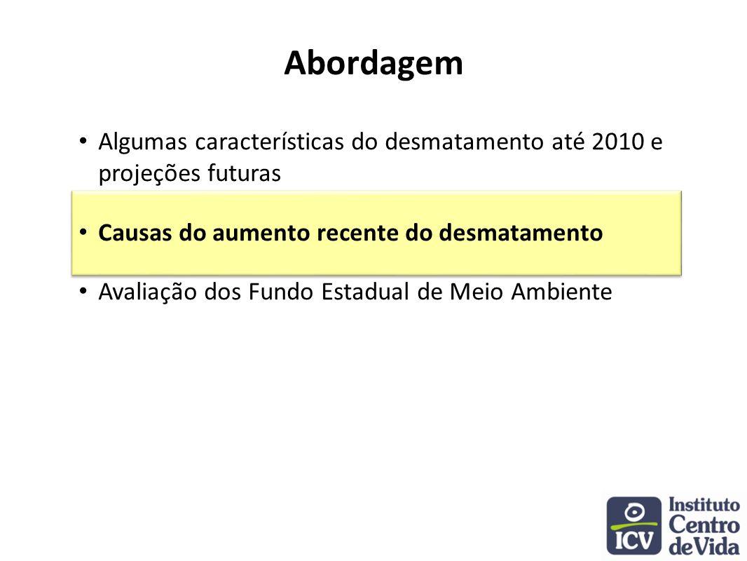 Abordagem Algumas características do desmatamento até 2010 e projeções futuras. Causas do aumento recente do desmatamento.