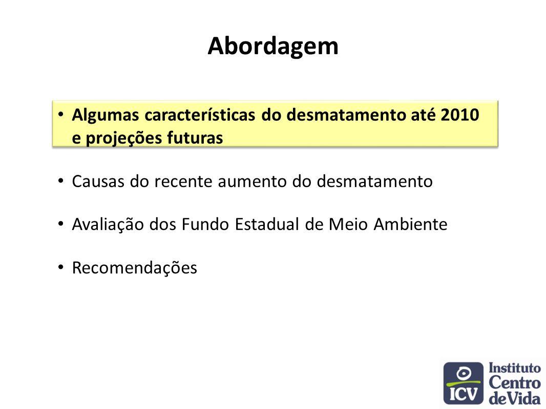 Abordagem Algumas características do desmatamento até 2010 e projeções futuras. Causas do recente aumento do desmatamento.