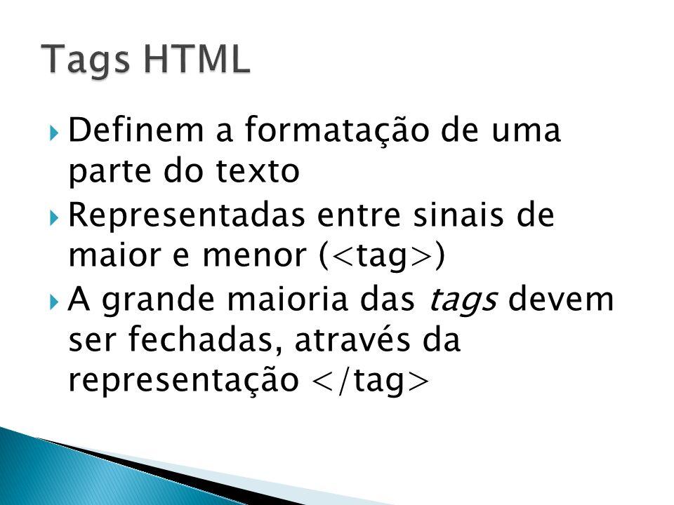 Tags HTML Definem a formatação de uma parte do texto