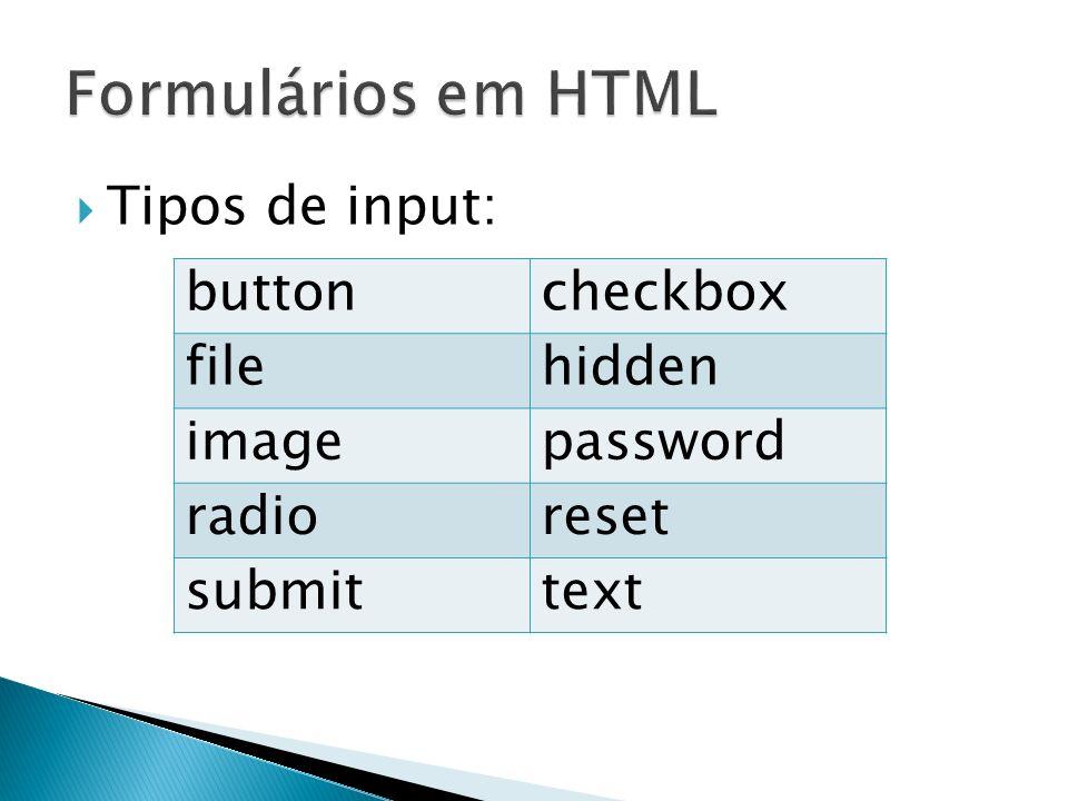 Formulários em HTML Tipos de input: button checkbox file hidden image