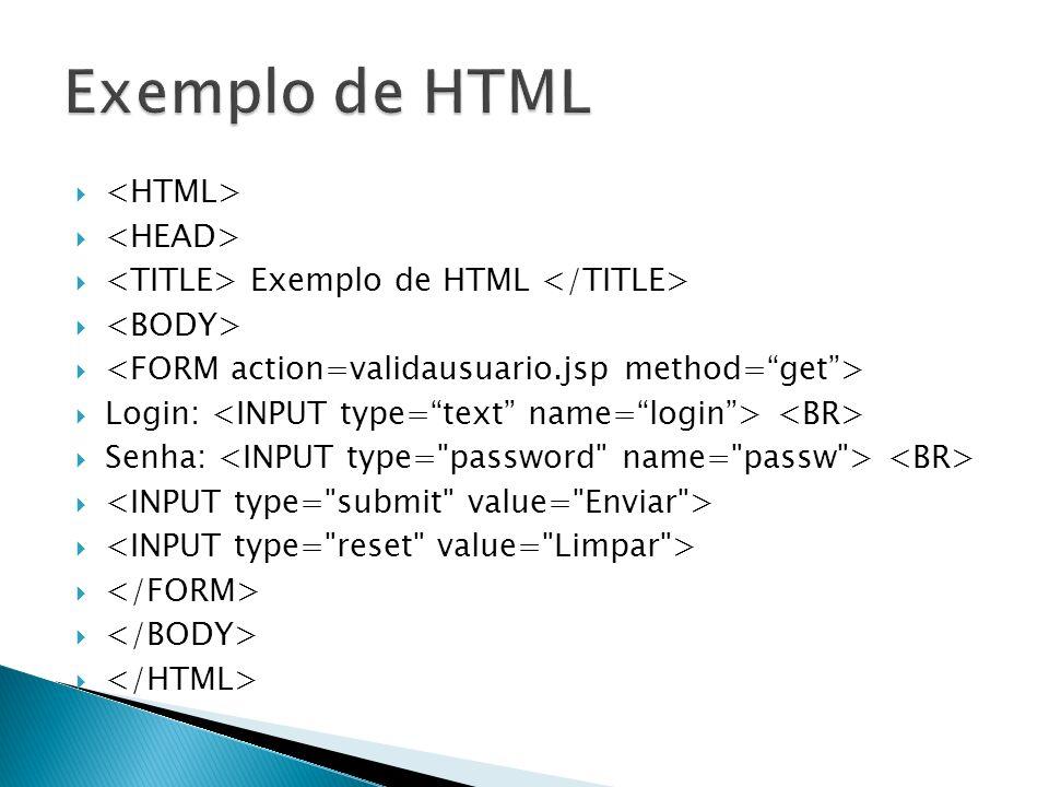 Exemplo de HTML <HTML> <HEAD>